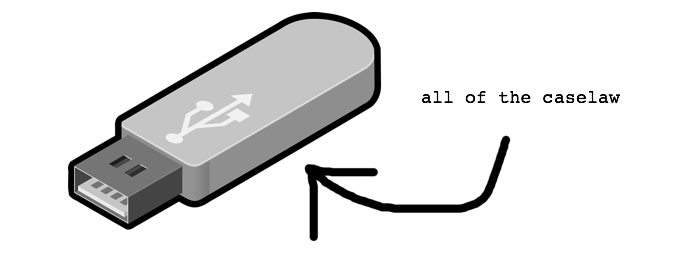 USB stick labeled 'all of the caselaw'