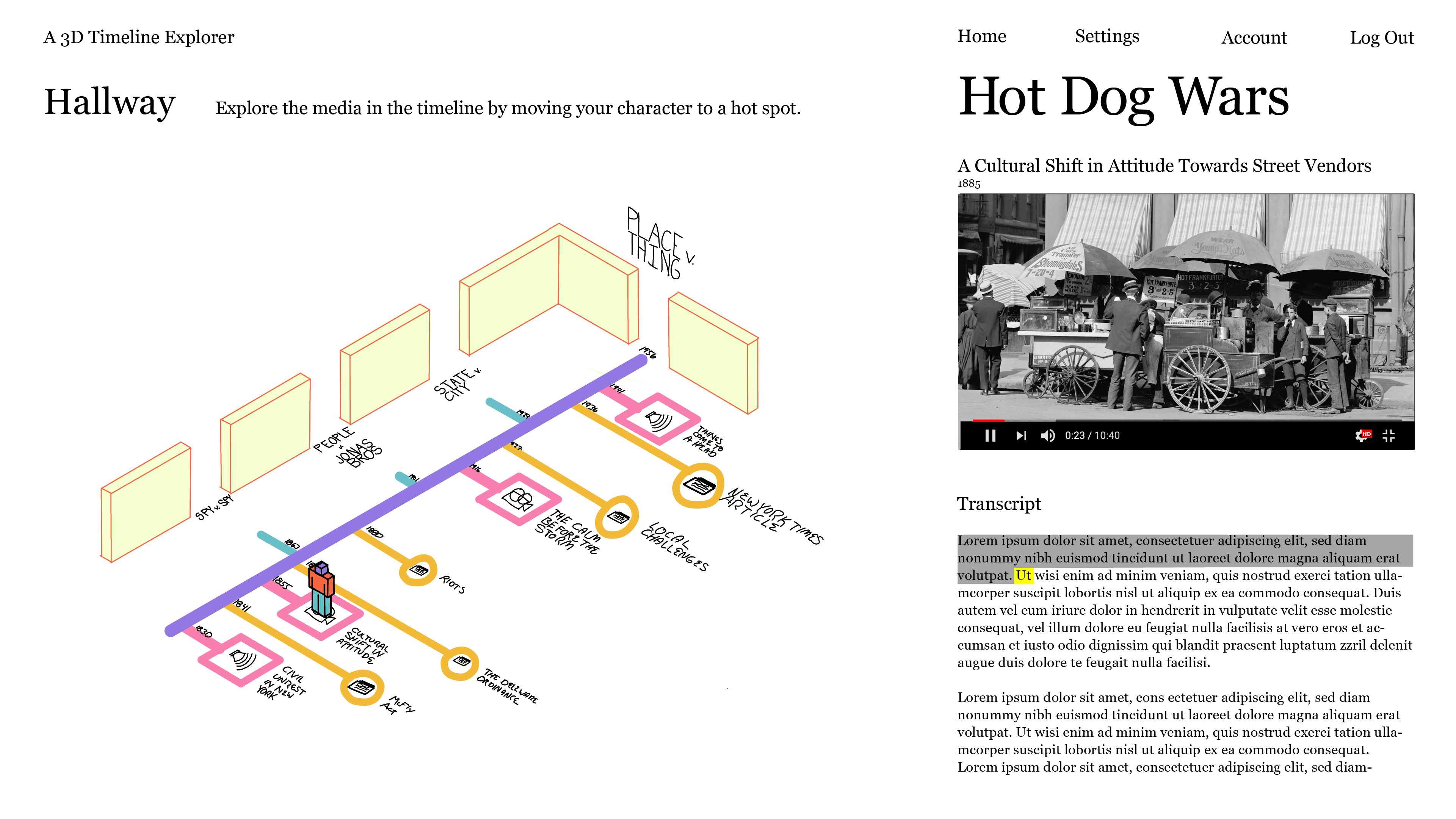a 3d cartoon depiction of a hallway with a timeline on the floor, marked with various hot spot symbols for sounds, movies or articles