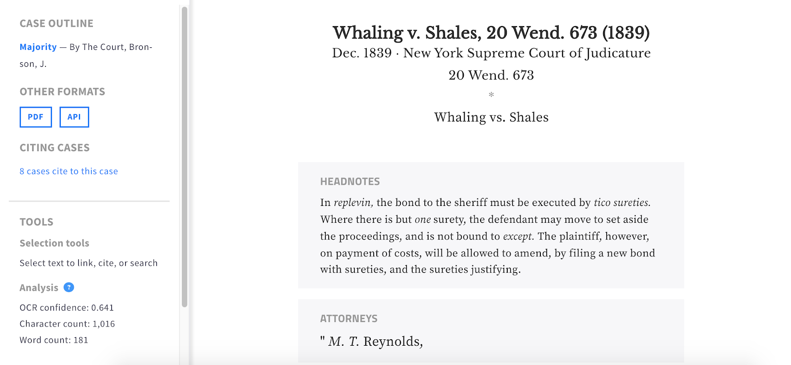 "Case view of ""Whaling v. Shales"" (1839) showing headnotes and attorneys highlighted above the text of the opinion."