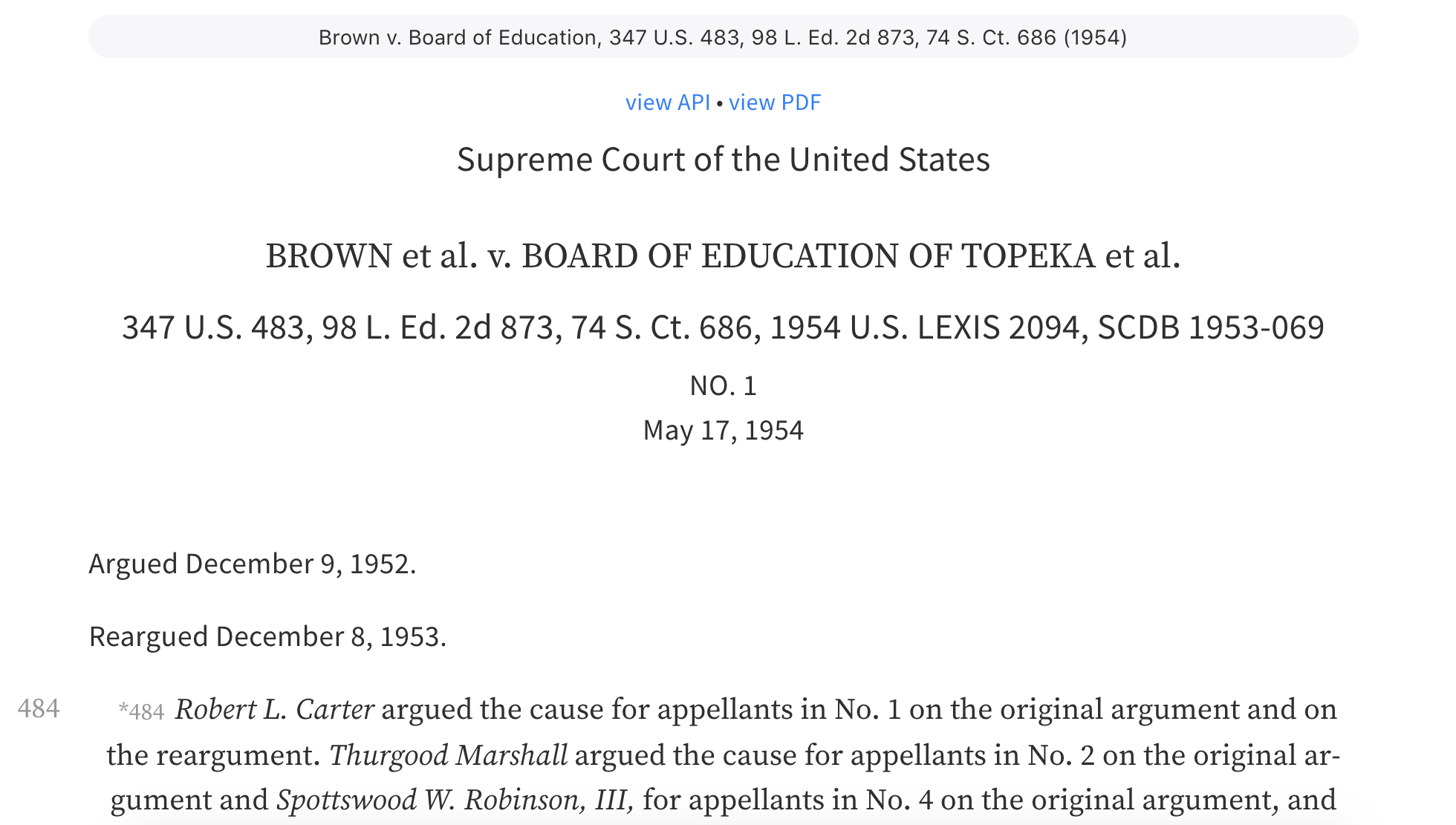 Brown v. Board of Education, 347 U.S. 483, 98 L. Ed. 2d 873, 74 S. Ct. 686 (1954)