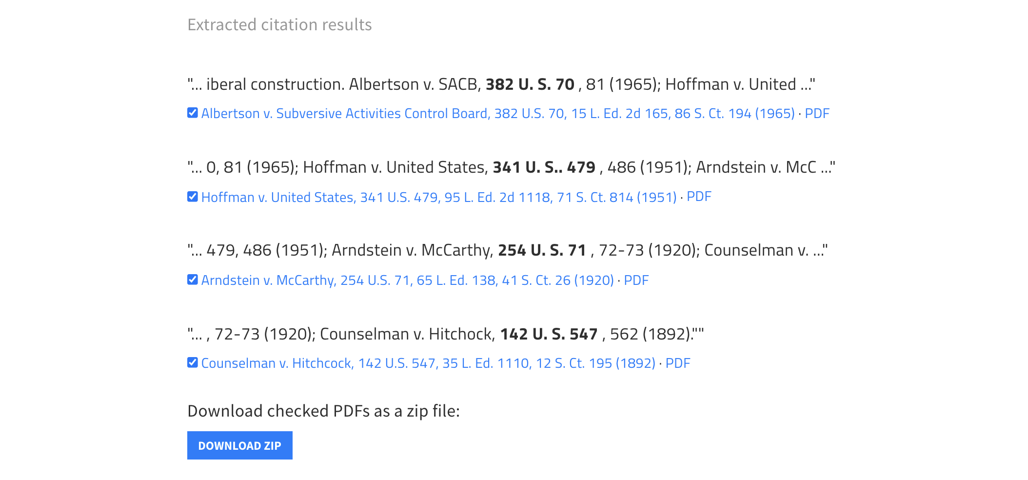 Screenshot of Fetch PDFs showing the list of cases cited in the excerpt, and the option to download PDFs of those cases as a zip file.