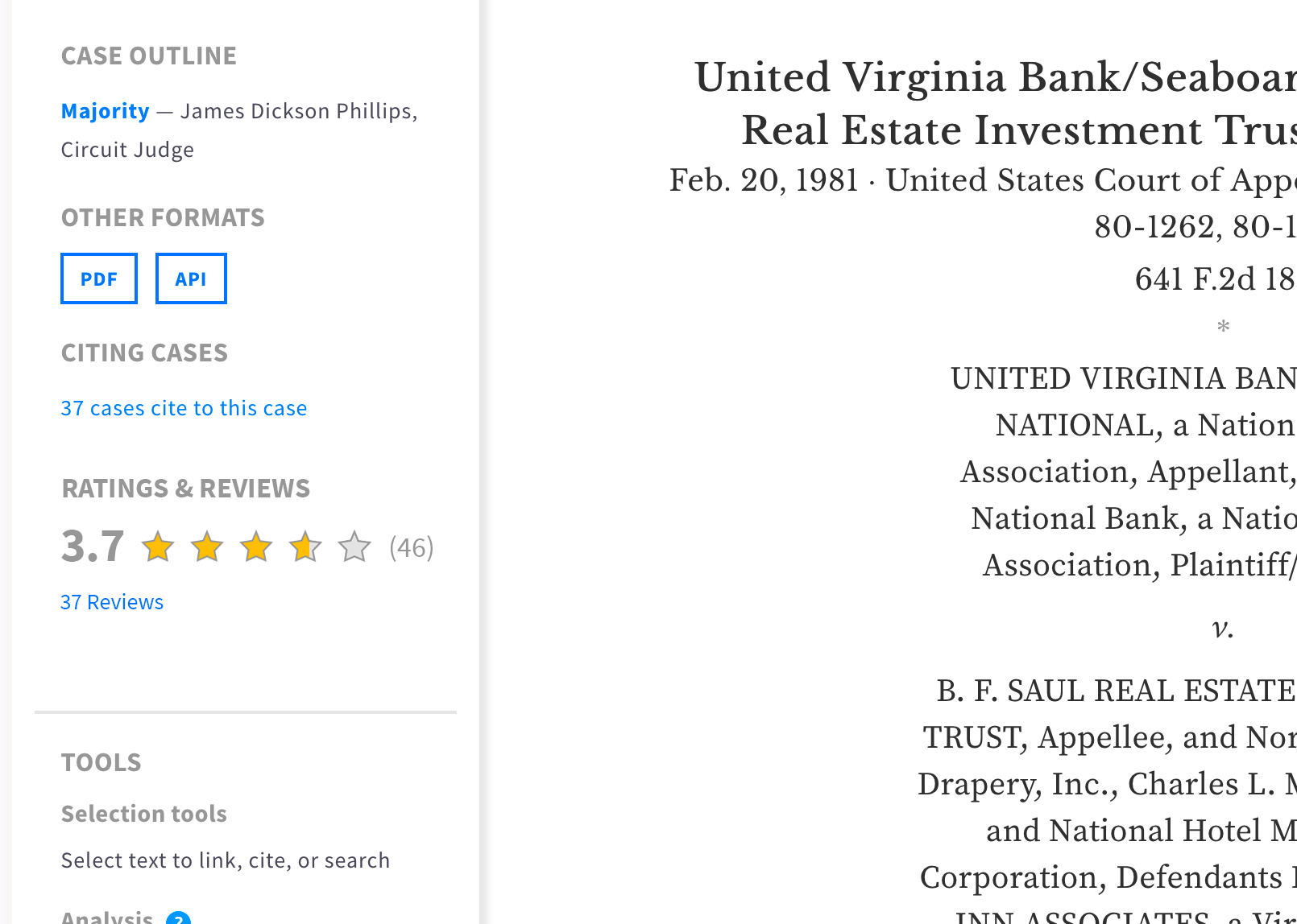 """a screenshot of a caselaw viewing toolbar interface with a """"Ratings and review"""" section added, like on an ecommerce site."""