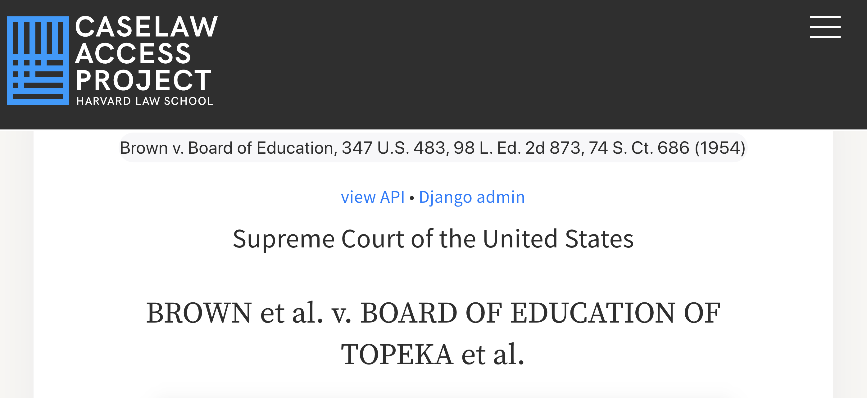"Example of case citation field, showing: ""Brown v. Board of Education, 347 U.S. 483, 98 L. Ed. 2d 873, 74 S. Ct. 686 (1954)""."